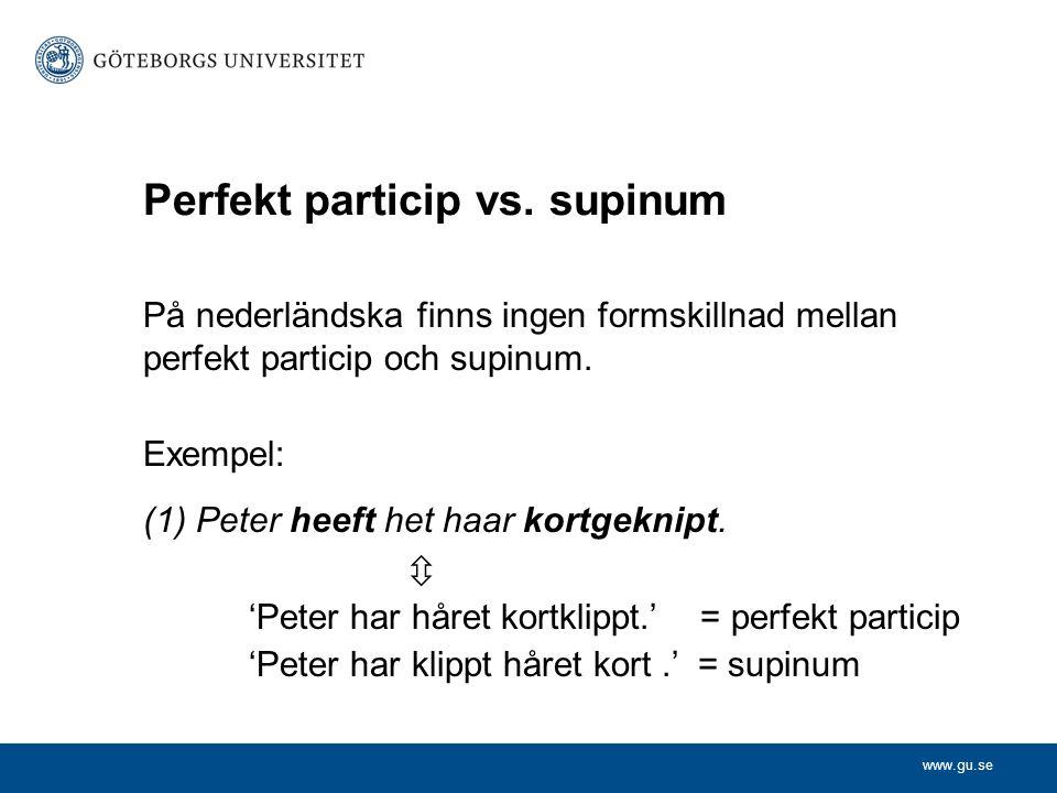 Perfekt particip vs. supinum