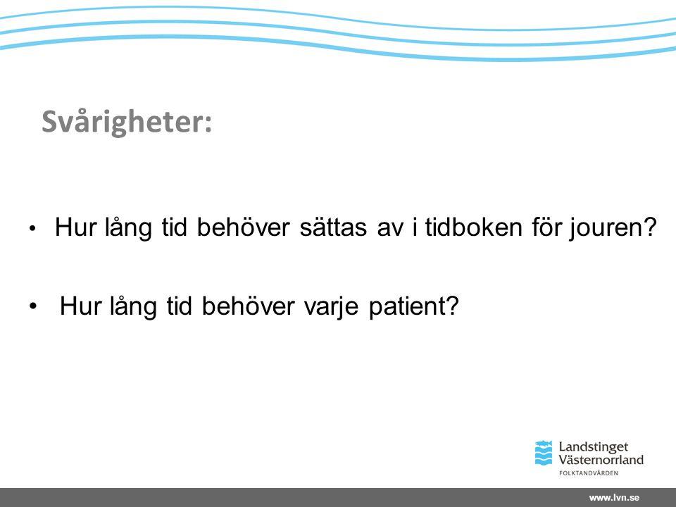 Svårigheter: Hur lång tid behöver varje patient