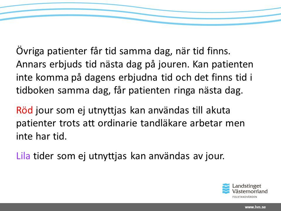 Övriga patienter får tid samma dag, när tid finns