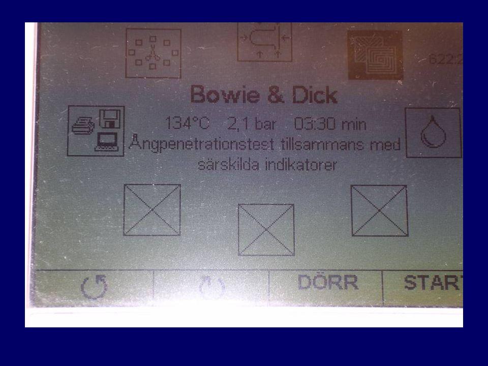 Displayen på Melag. Bowie Dick programmet.