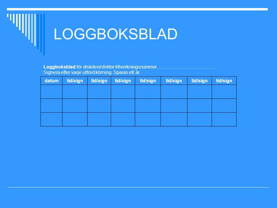 LOGGBOKSBLAD Loggboksblad för diskdesinfektor tillverkningsnummer………………………………… Signera efter varje utförd körning. Sparas ett år.