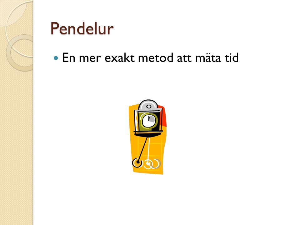 Pendelur En mer exakt metod att mäta tid