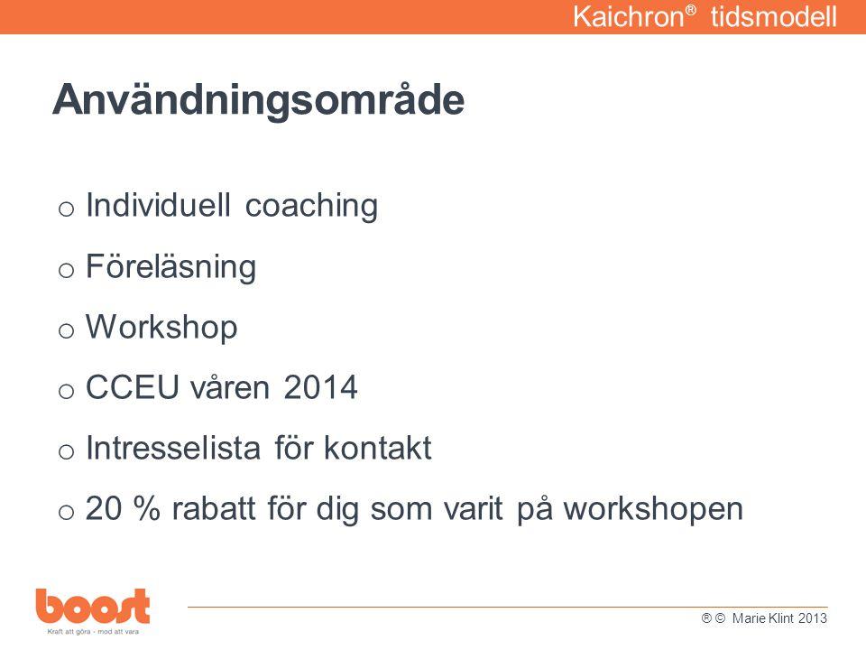 Användningsområde Individuell coaching Föreläsning Workshop