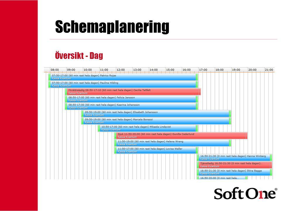 Schemaplanering Översikt - Dag 1-15 anställda