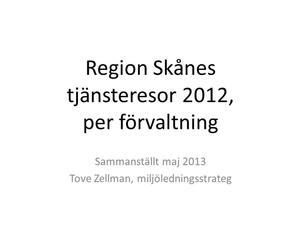 Region Skånes tjänsteresor 2012, per förvaltning