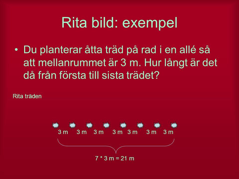 Rita bild: exempel Du planterar åtta träd på rad i en allé så att mellanrummet är 3 m. Hur långt är det då från första till sista trädet