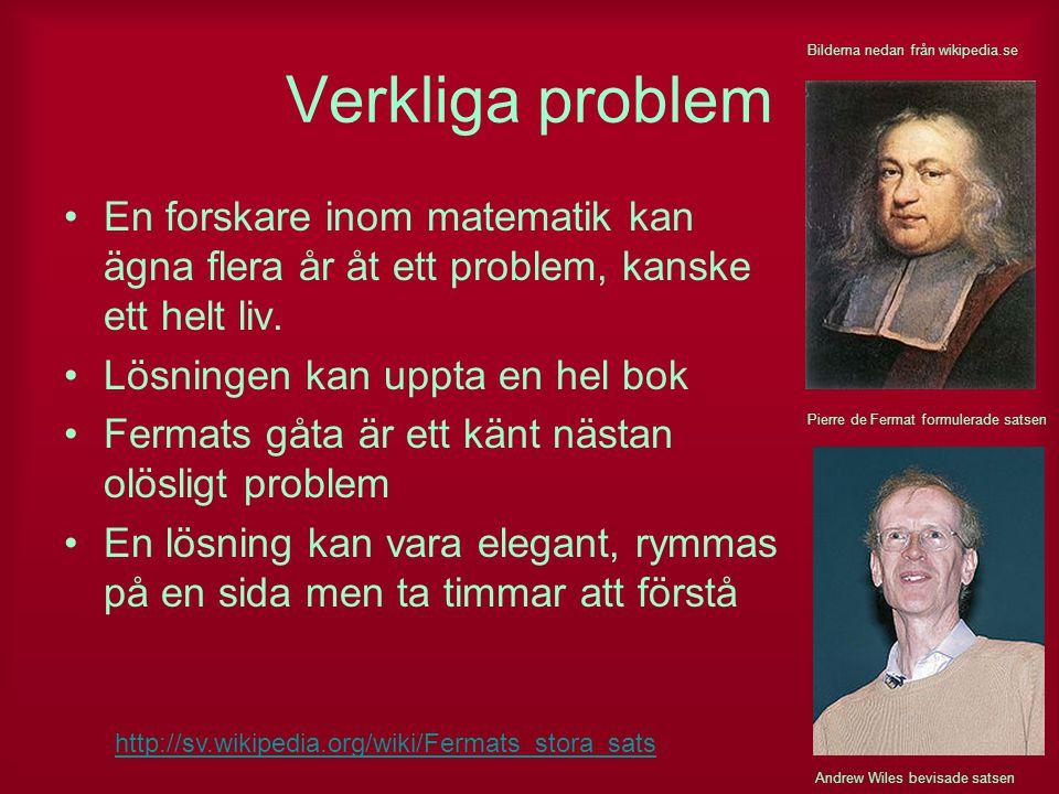 Verkliga problem Bilderna nedan från wikipedia.se. En forskare inom matematik kan ägna flera år åt ett problem, kanske ett helt liv.