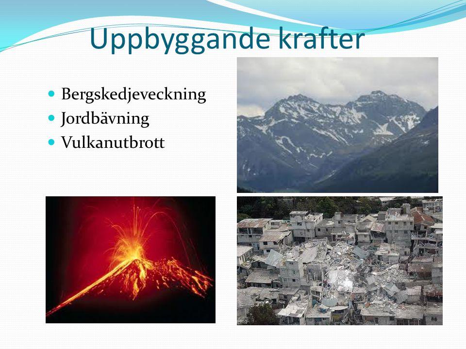 Uppbyggande krafter Bergskedjeveckning Jordbävning Vulkanutbrott