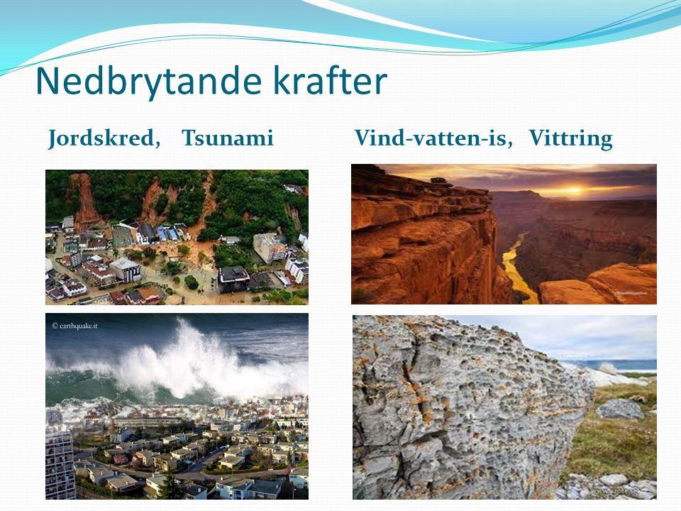 Nedbrytande krafter Jordskred, Tsunami Vind-vatten-is, Vittring