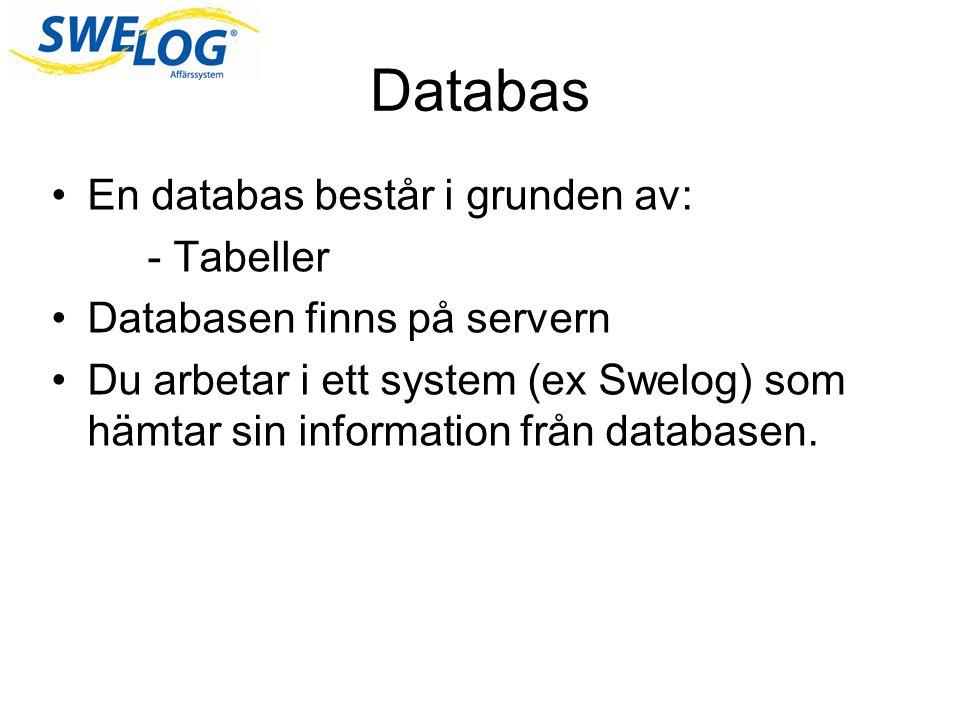 Databas En databas består i grunden av: - Tabeller
