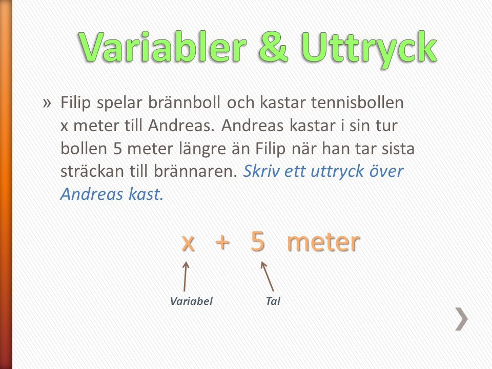 Variabler & Uttryck x + 5 meter
