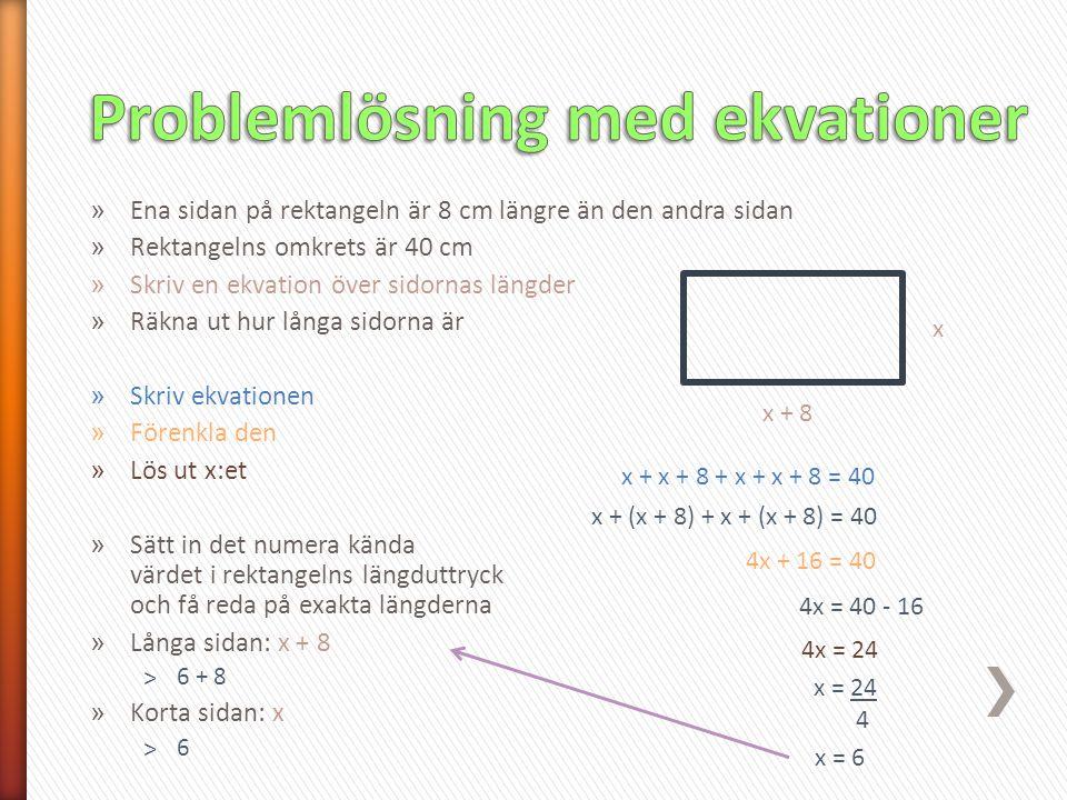 Problemlösning med ekvationer