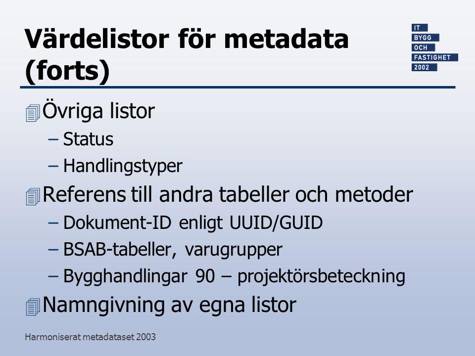 Värdelistor för metadata (forts)