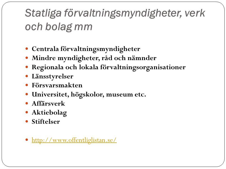 Statliga förvaltningsmyndigheter, verk och bolag mm