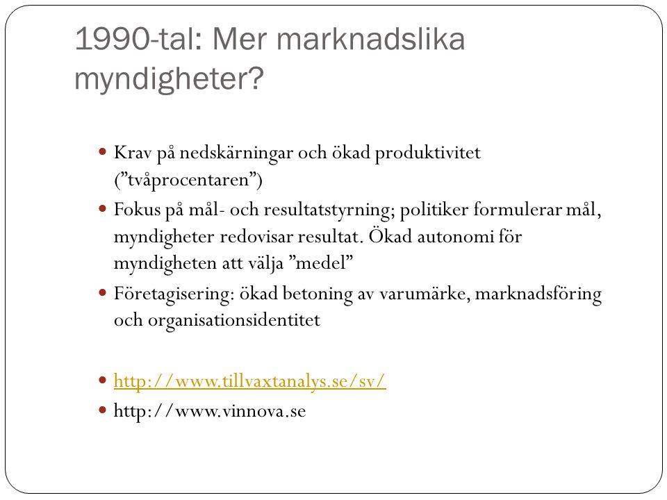 1990-tal: Mer marknadslika myndigheter
