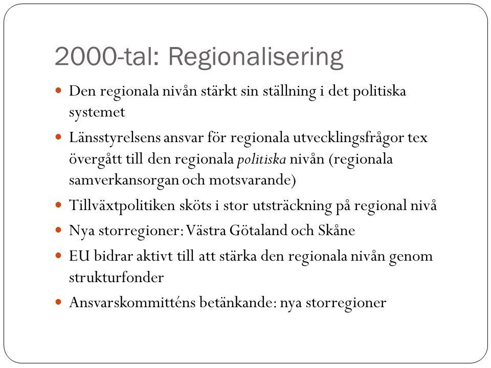 2000-tal: Regionalisering