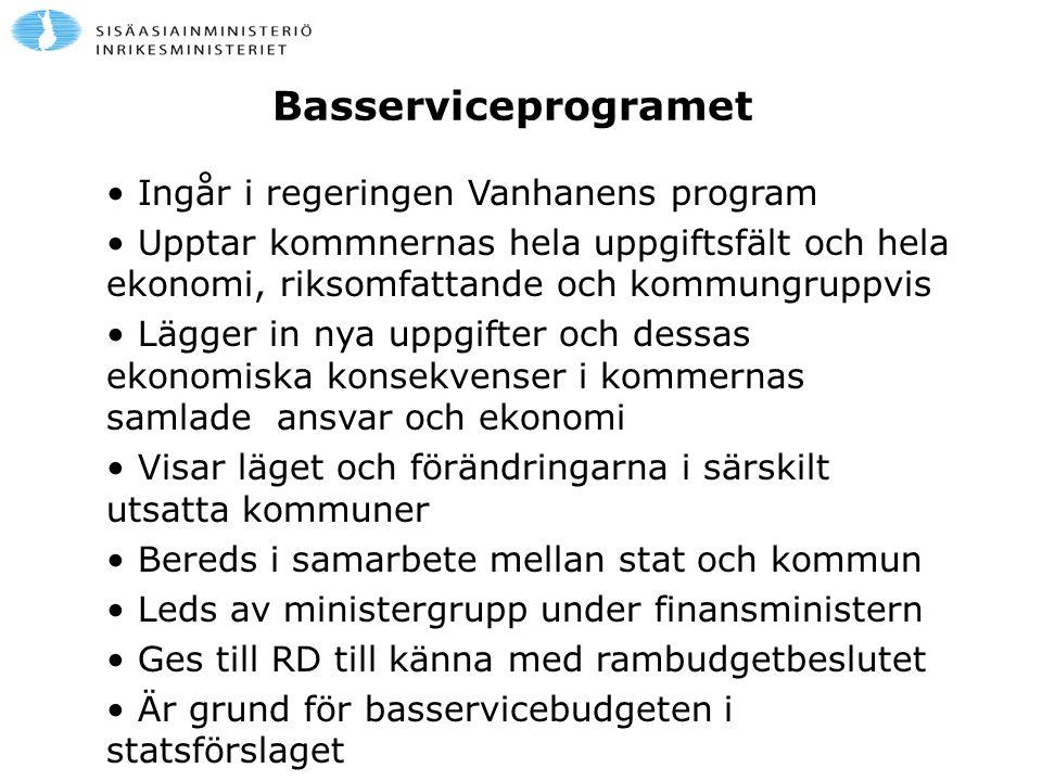 Basserviceprogramet Ingår i regeringen Vanhanens program