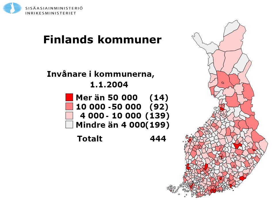 Finlands kommuner Invånare i kommunerna, 1.1.2004 Mer än 50 000 (14)