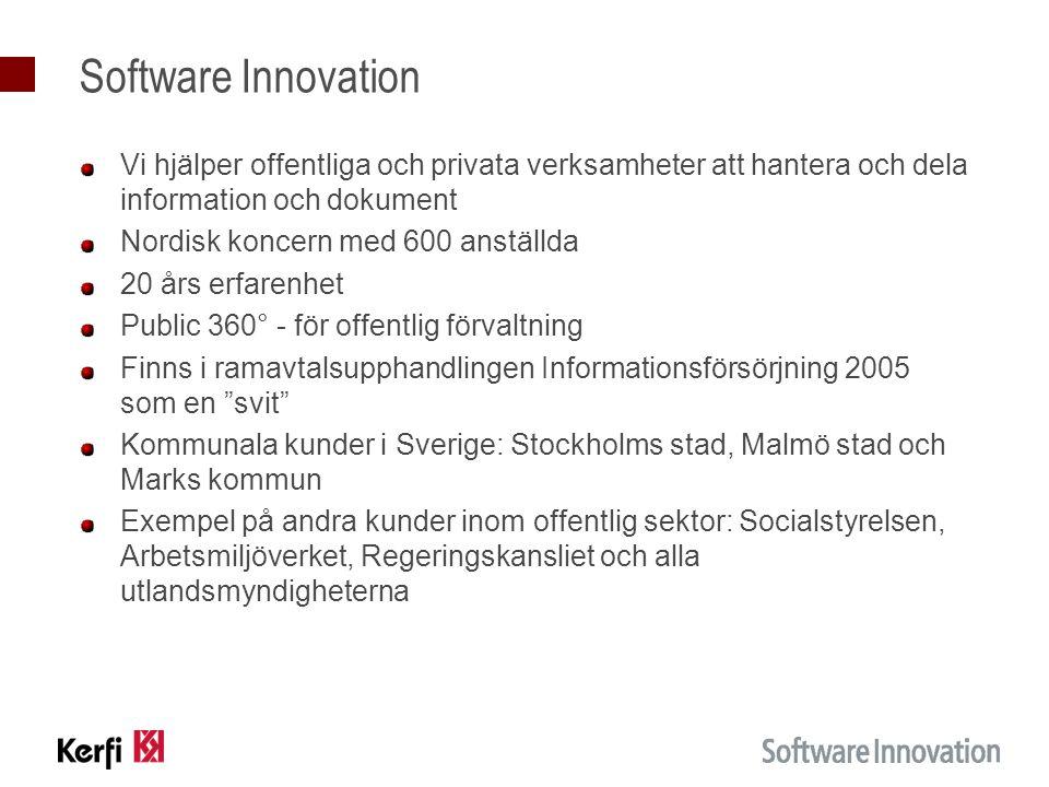 Software Innovation Vi hjälper offentliga och privata verksamheter att hantera och dela information och dokument.