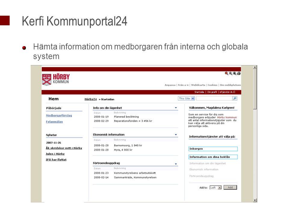 Kerfi Kommunportal24 Hämta information om medborgaren från interna och globala system.