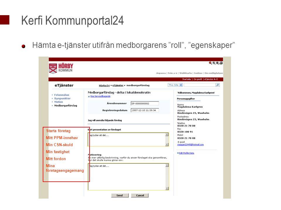 Kerfi Kommunportal24 Hämta e-tjänster utifrån medborgarens roll , egenskaper Starta företag. Mitt PPM-innehav.