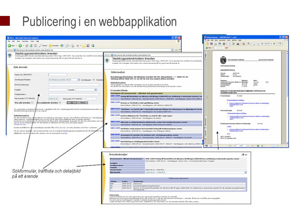 Publicering i en webbapplikation