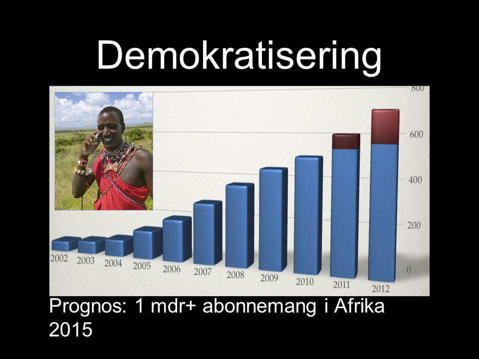 Demokratisering Prognos: 1 mdr+ abonnemang i Afrika 2015
