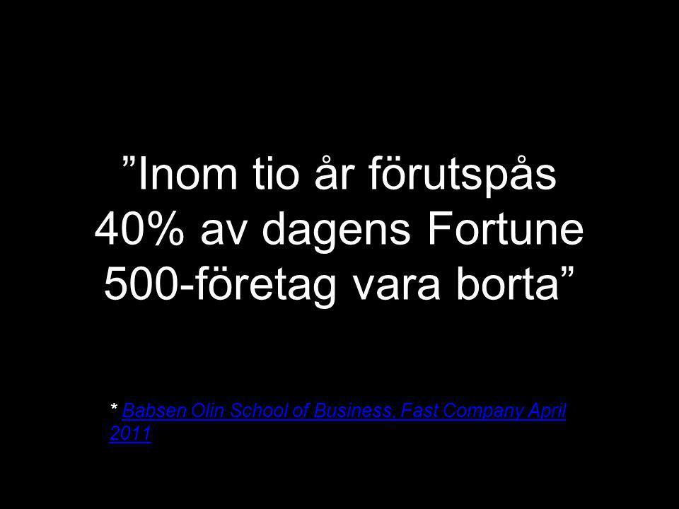 Inom tio år förutspås 40% av dagens Fortune 500-företag vara borta