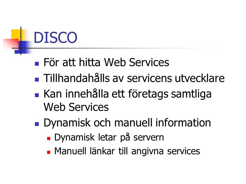DISCO För att hitta Web Services