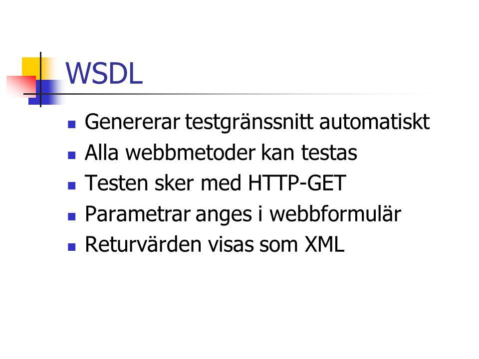 WSDL Genererar testgränssnitt automatiskt Alla webbmetoder kan testas