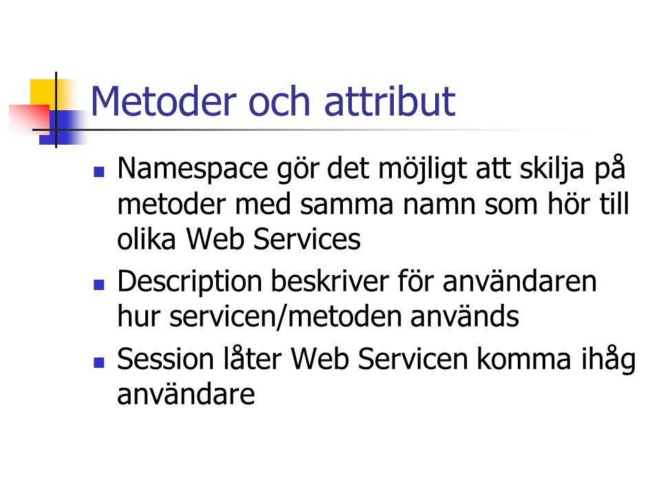 Metoder och attribut Namespace gör det möjligt att skilja på metoder med samma namn som hör till olika Web Services.