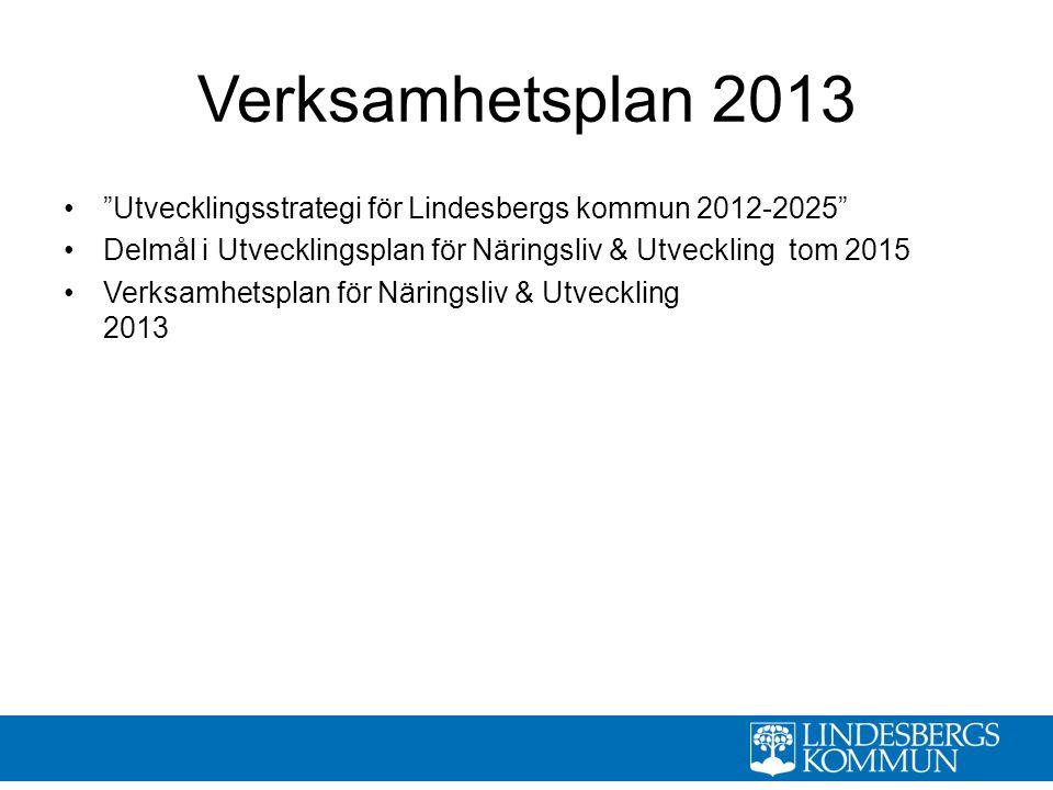 Verksamhetsplan 2013 Utvecklingsstrategi för Lindesbergs kommun 2012-2025 Delmål i Utvecklingsplan för Näringsliv & Utveckling tom 2015.