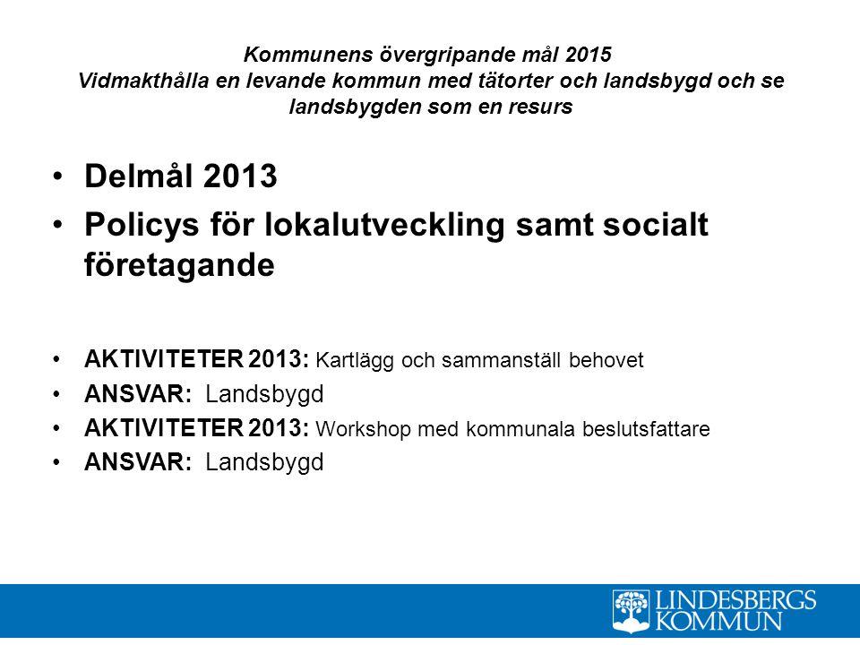 Policys för lokalutveckling samt socialt företagande