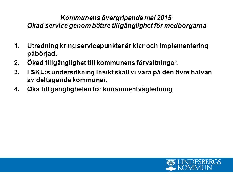 Kommunens övergripande mål 2015 Ökad service genom bättre tillgänglighet för medborgarna