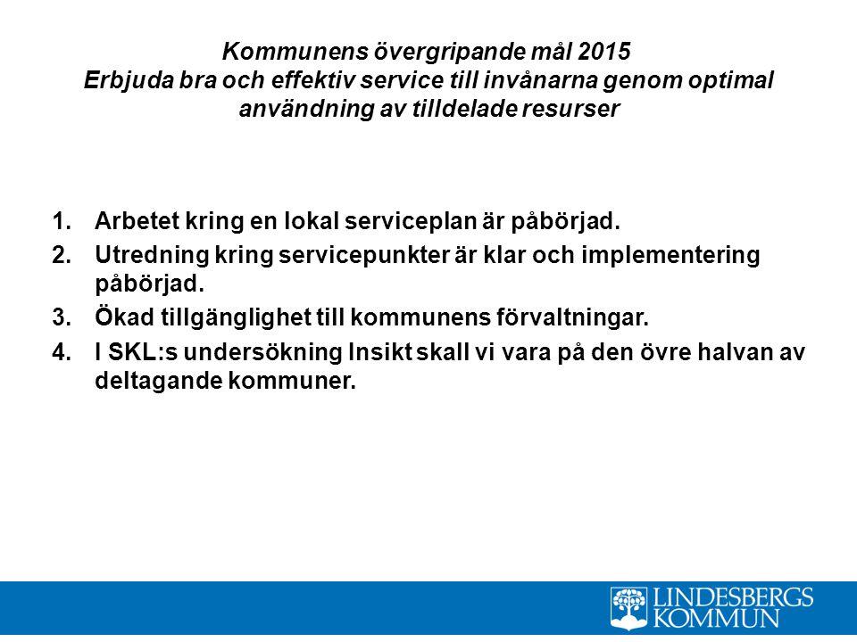 Kommunens övergripande mål 2015 Erbjuda bra och effektiv service till invånarna genom optimal användning av tilldelade resurser