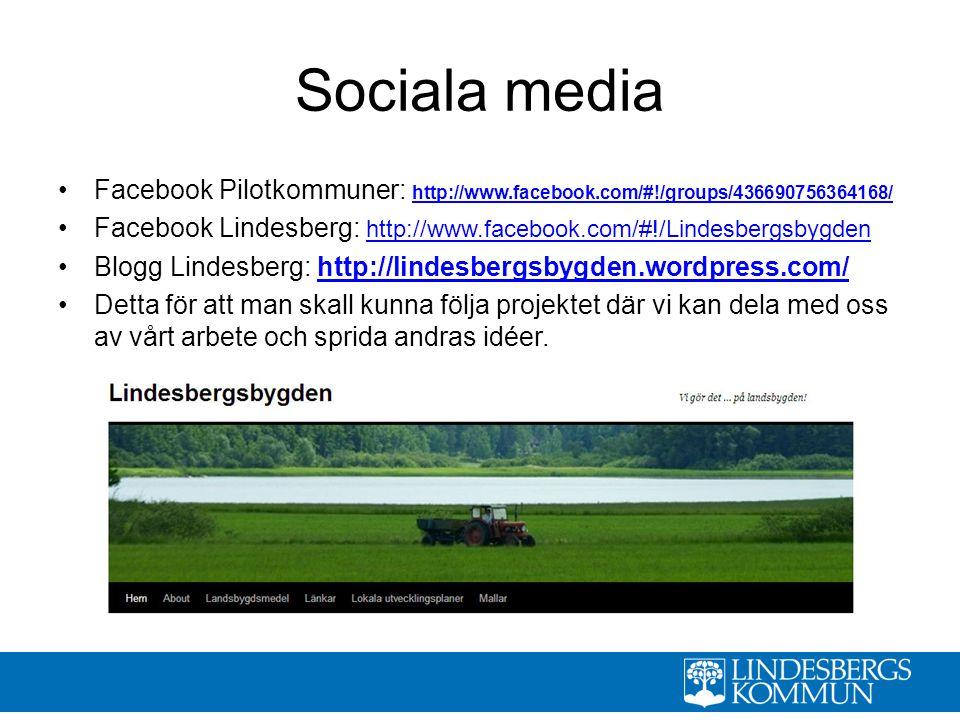 Sociala media Facebook Pilotkommuner: http://www.facebook.com/#!/groups/436690756364168/