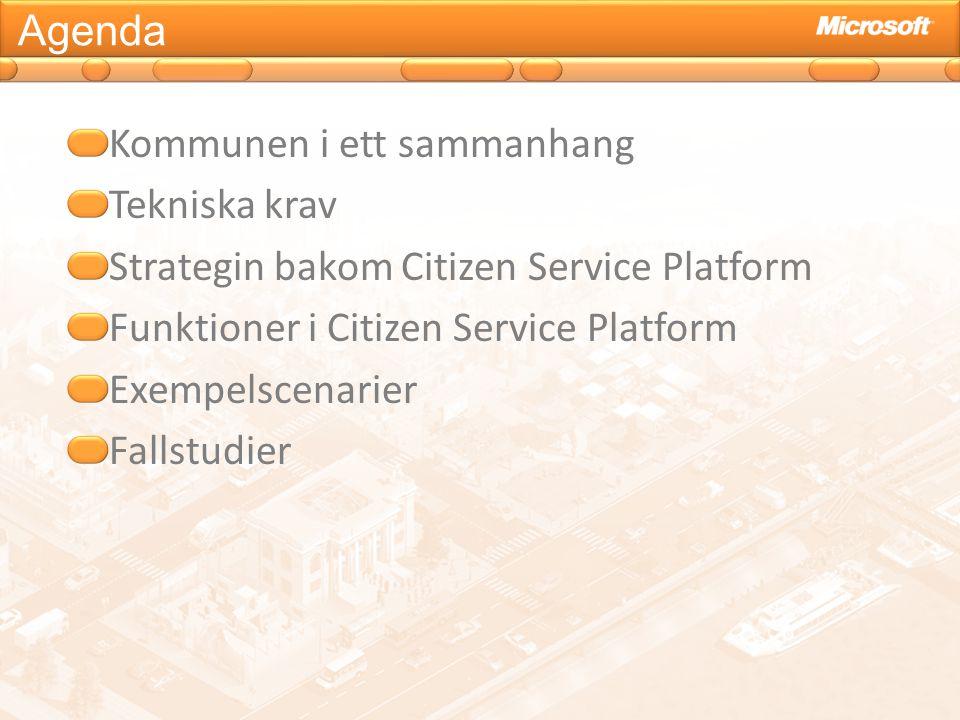 Agenda Kommunen i ett sammanhang. Tekniska krav. Strategin bakom Citizen Service Platform. Funktioner i Citizen Service Platform.