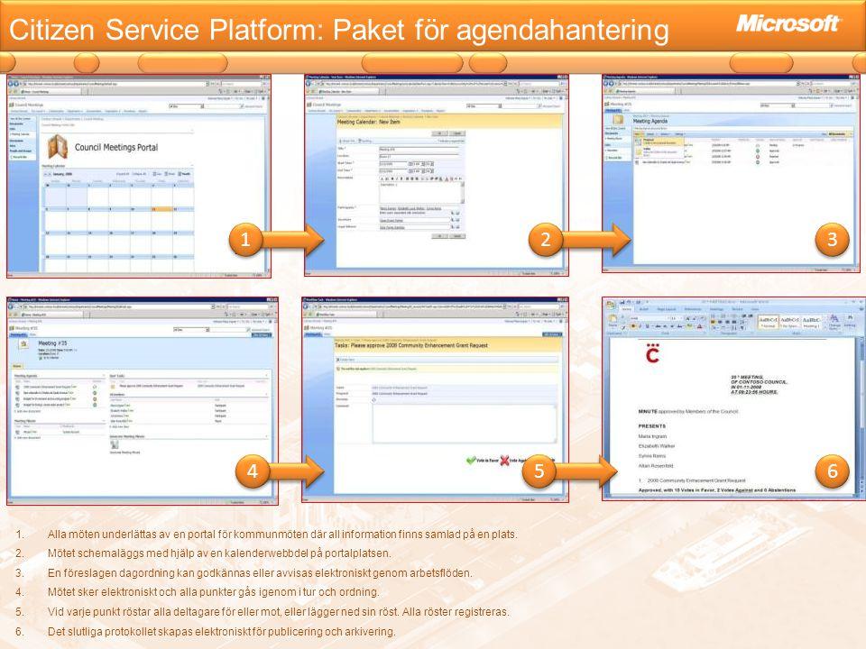 Citizen Service Platform: Paket för agendahantering