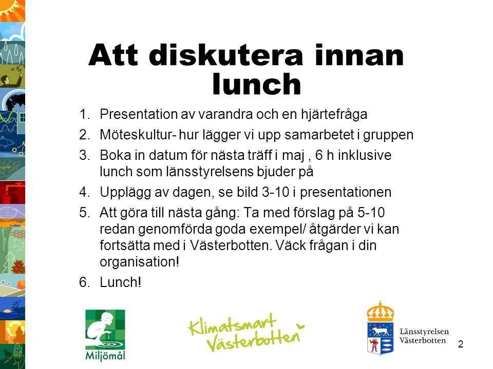 Att diskutera innan lunch