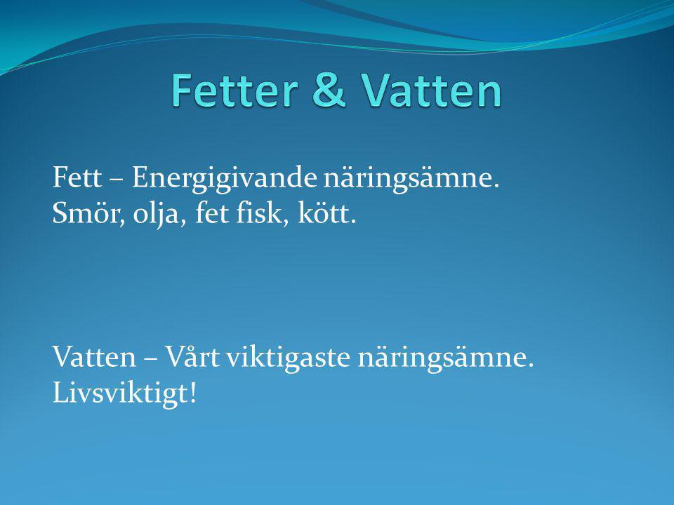 Fetter & Vatten Fett – Energigivande näringsämne.