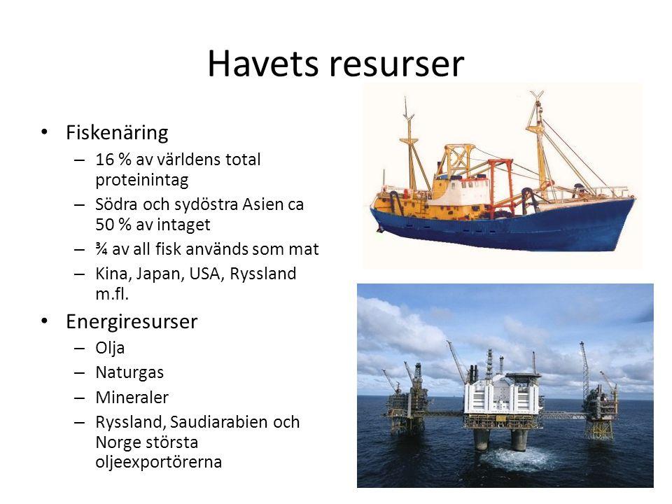 Havets resurser Fiskenäring Energiresurser