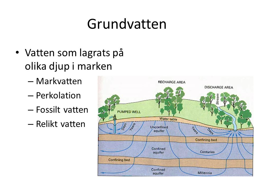 Grundvatten Vatten som lagrats på olika djup i marken Markvatten