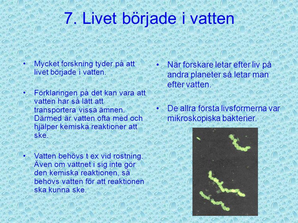 7. Livet började i vatten Mycket forskning tyder på att livet började i vatten.