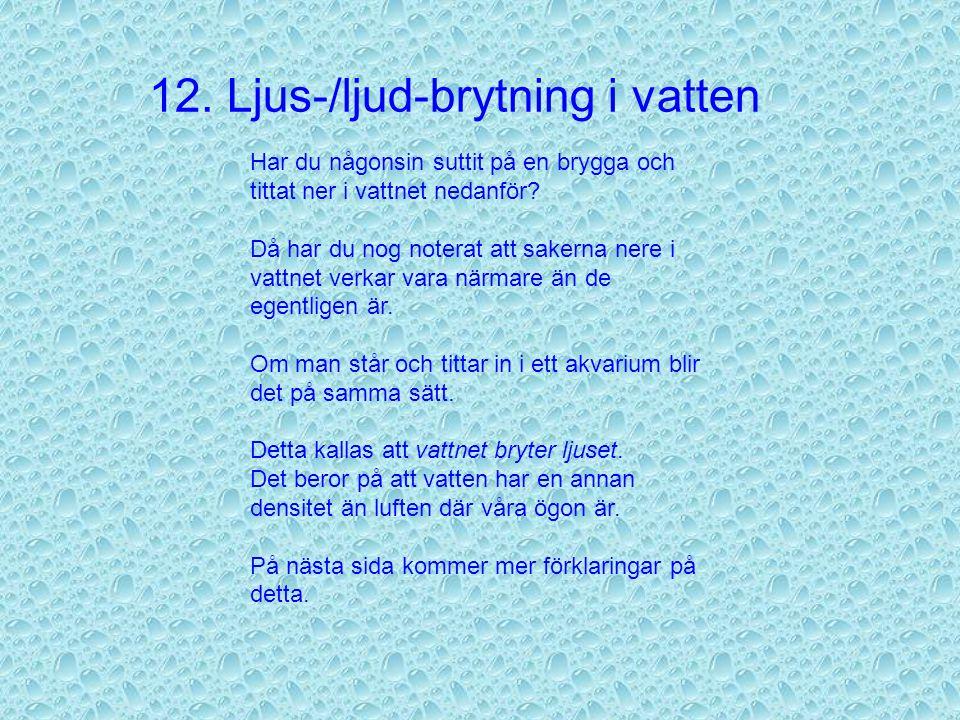 12. Ljus-/ljud-brytning i vatten