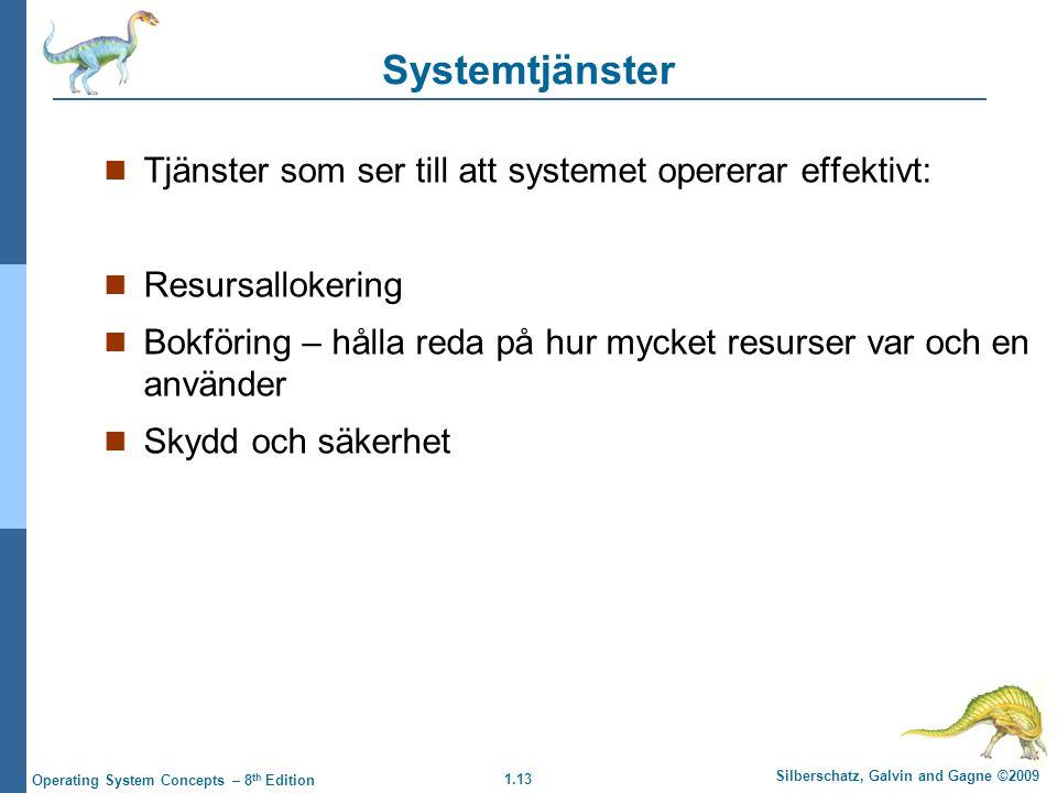 Systemtjänster Tjänster som ser till att systemet opererar effektivt: