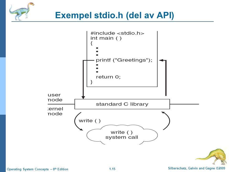 Exempel stdio.h (del av API)