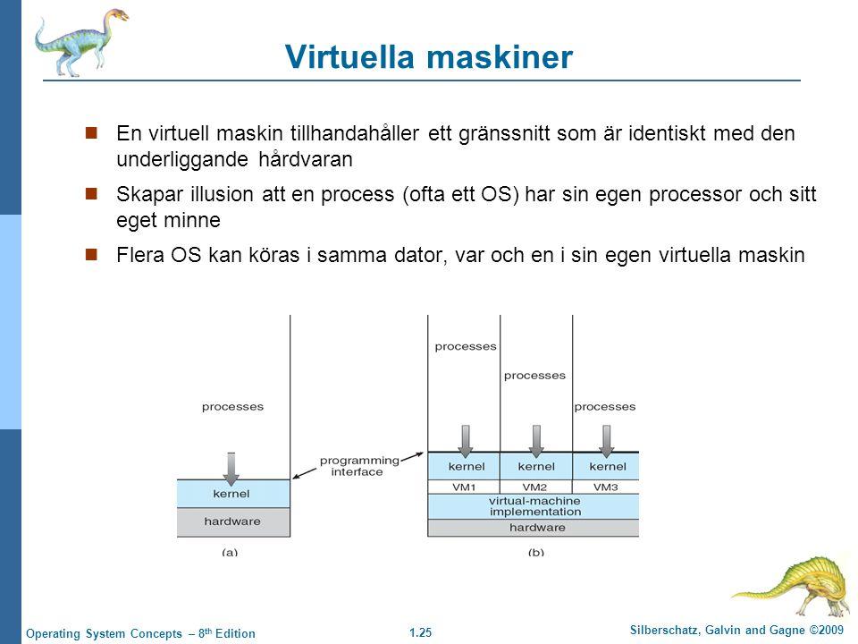 Virtuella maskiner En virtuell maskin tillhandahåller ett gränssnitt som är identiskt med den underliggande hårdvaran.