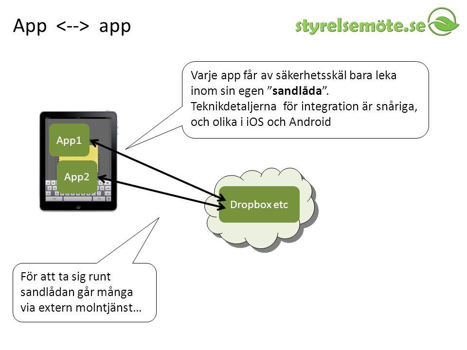 App <--> app Varje app får av säkerhetsskäl bara leka inom sin egen sandlåda .