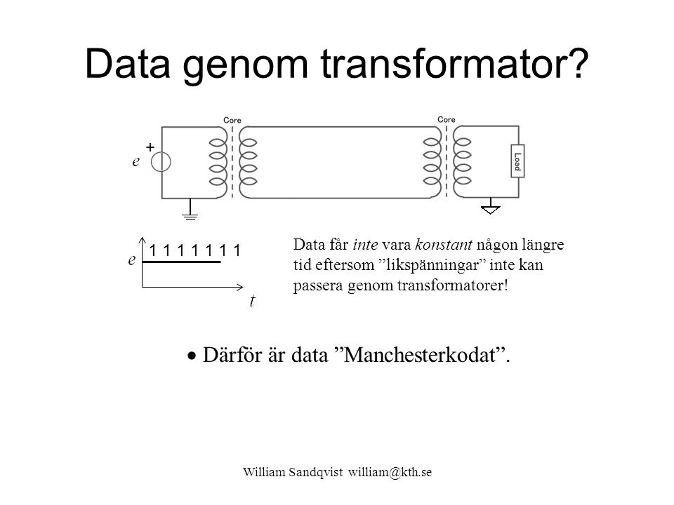 Data genom transformator