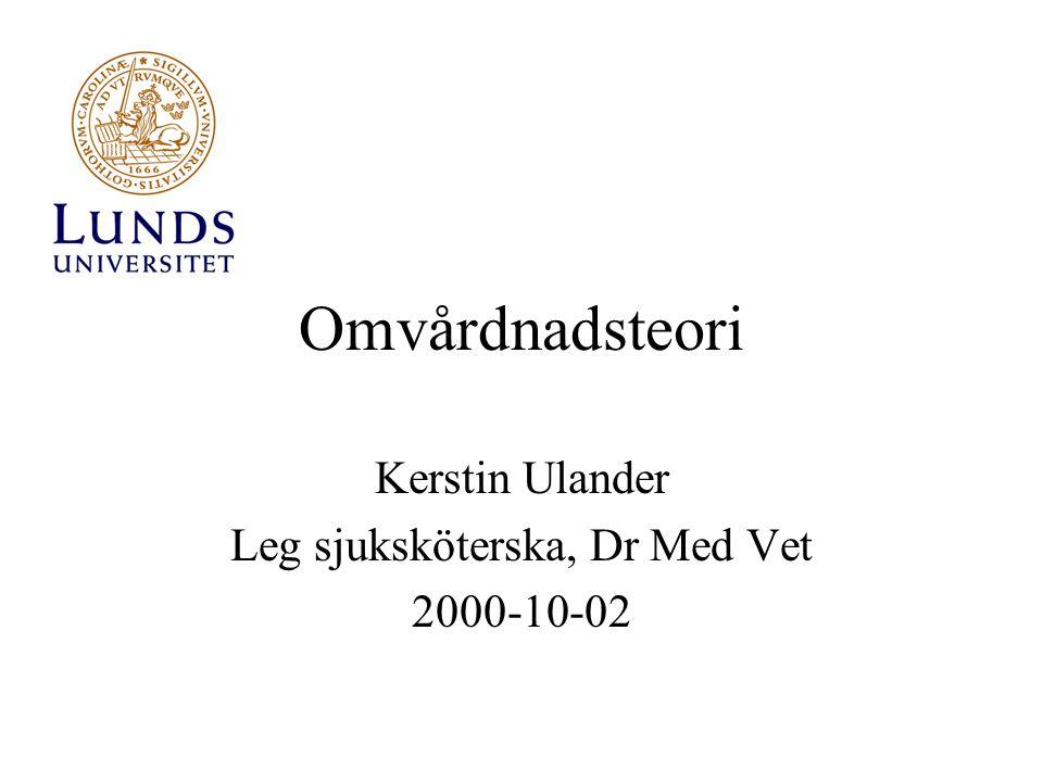 Kerstin Ulander Leg sjuksköterska, Dr Med Vet 2000-10-02